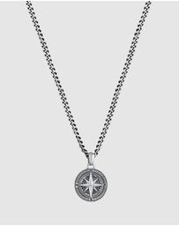 Kuzzoi - Necklace Curb Chain Compass Solid 925 Sterling Silver