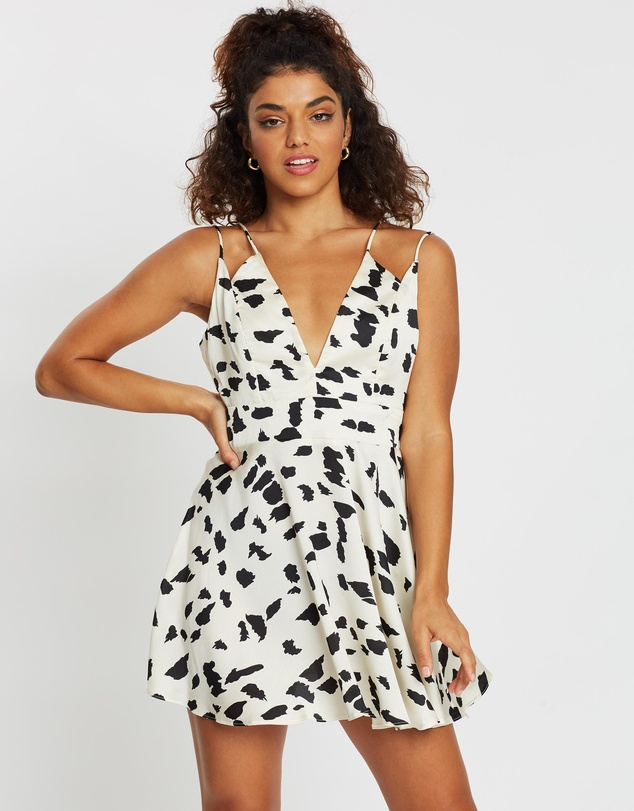 Missguided Petite - Cow Print Strappy Skater Dress