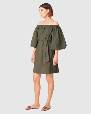 French Connection Off Shoulder Textured Dress - Dresses (OLIVE)