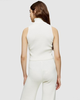 TOPSHOP Sleeveless Roll Neck Knitted Top - Tops (Ivory)