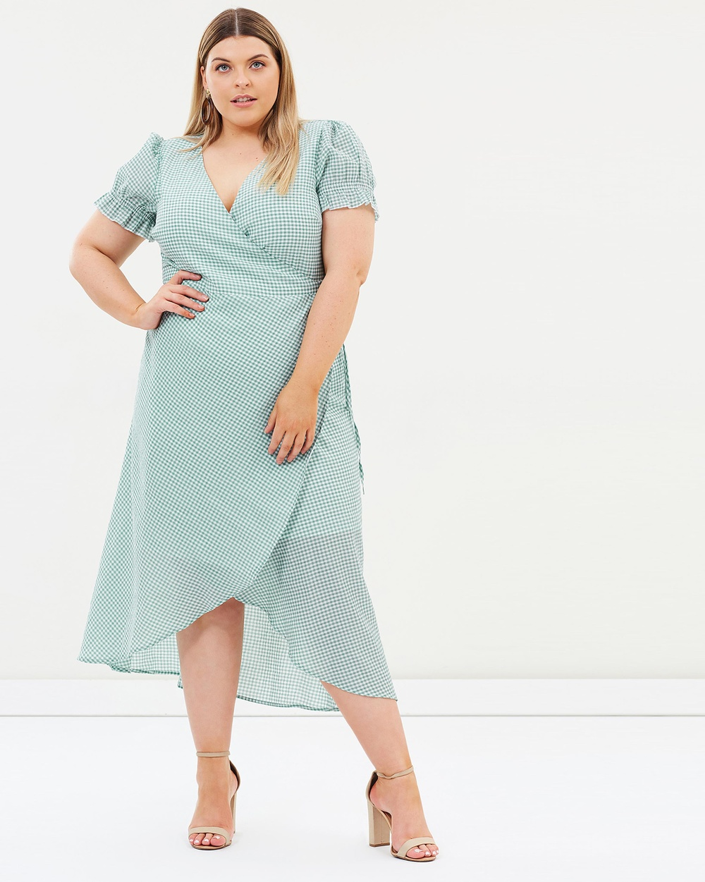 Atmos & Here Curvy ICONIC EXCLUSIVE Alabama Wrap Dress Printed Dresses Green Gingham ICONIC EXCLUSIVE Alabama Wrap Dress