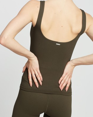 Aim'n Ribbed Seamless Singlet - Muscle Tops (Khaki)