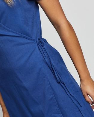 Atmos&Here Teresa Linen Blend Mini Dress - Dresses (Cobalt)