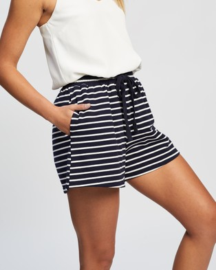 Atmos&Here - Vicki Relaxed Shorts - High-Waisted (Navy White Stripe) Vicki Relaxed Shorts