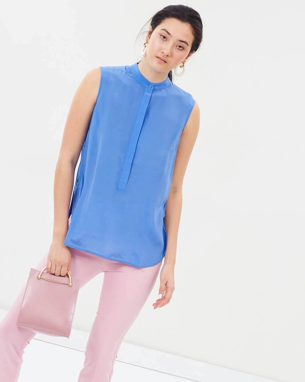 Weekend Max Mara Silk and Stretch Jersey Blouse Tops Light Blue Silk and Stretch Jersey Blouse