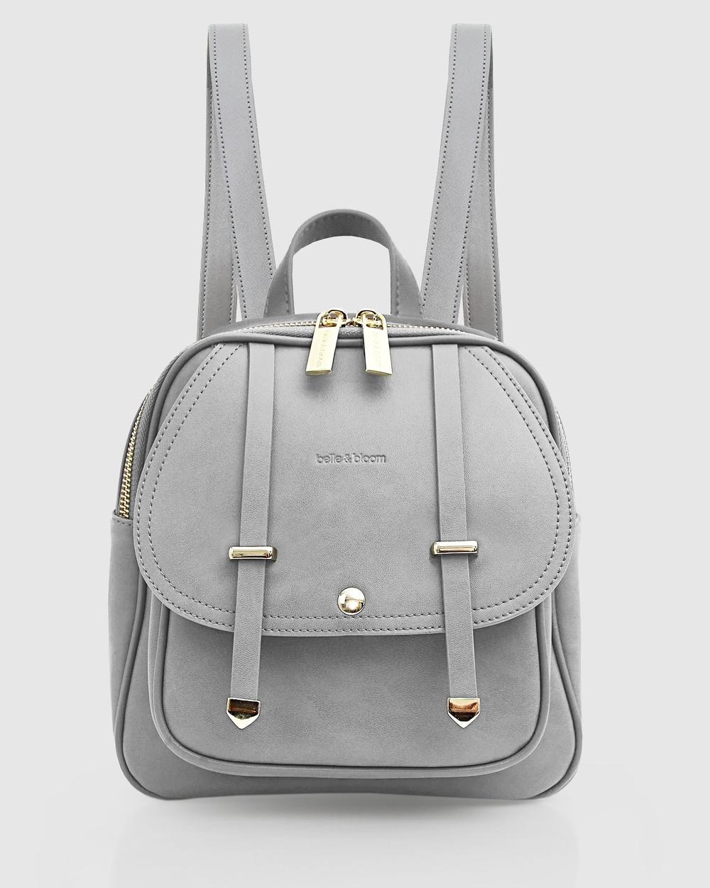 Belle & Bloom Camila Leather Backpack Backpacks Grey Leather bags Australia
