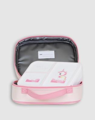 Bobbleart Large Backpack Lunch Bag Bento Box and Drink Bottle Unicorn - Backpacks (Light Pink)