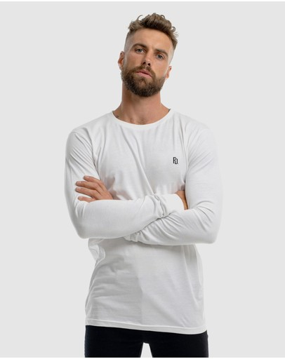 First Division Contract Embroidery Long Sleeve Tee White