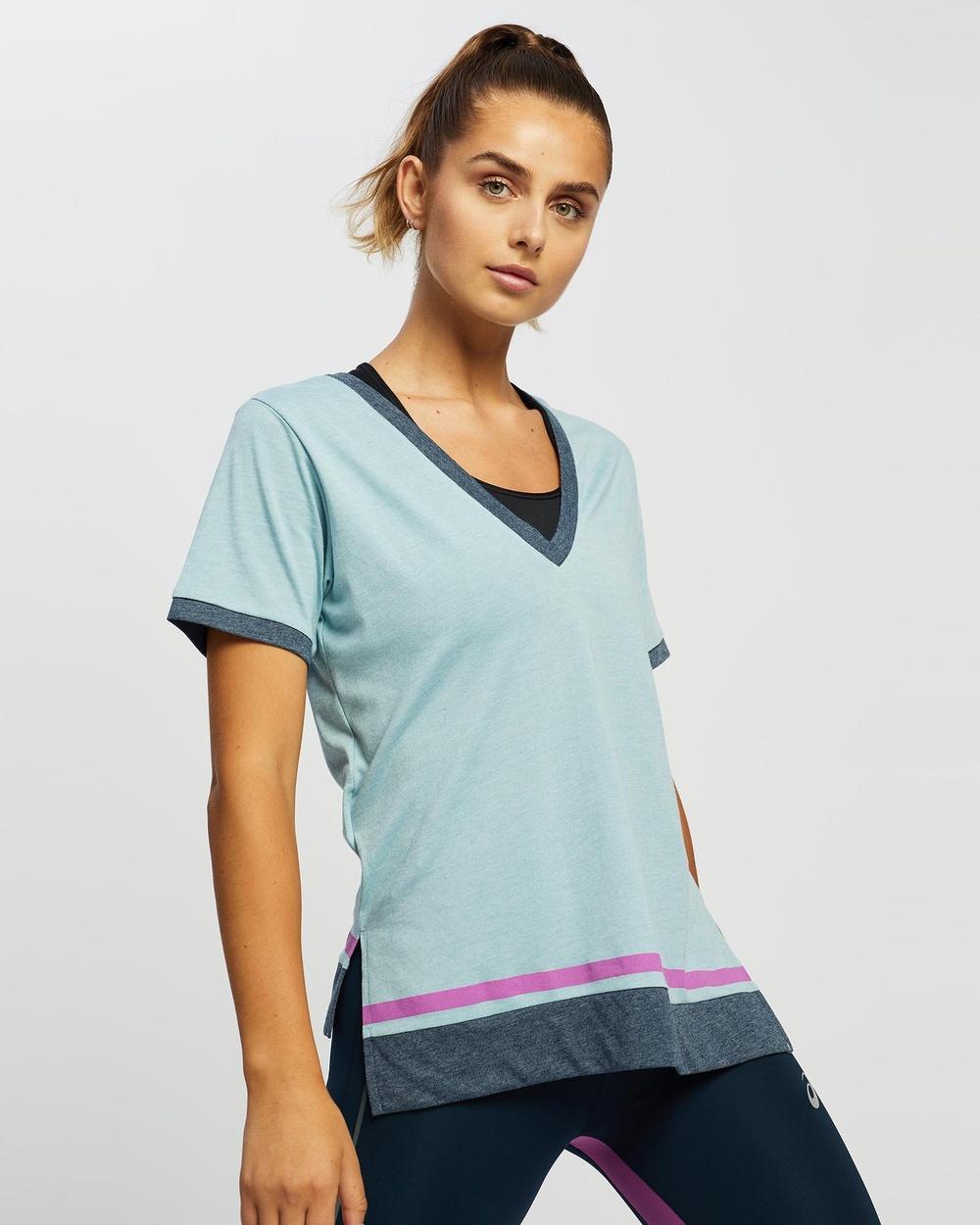 ASICS - Color Block Ss Top   Women's - T-Shirts & Singlets (Smoke Blue) Color Block Ss Top - Women's