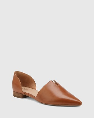Wittner Midori Leather Pointed Toe Flats - Boots (Tan)