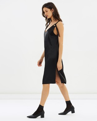 Hello Parry – Nellie Hoop Satin Slip Dress Black