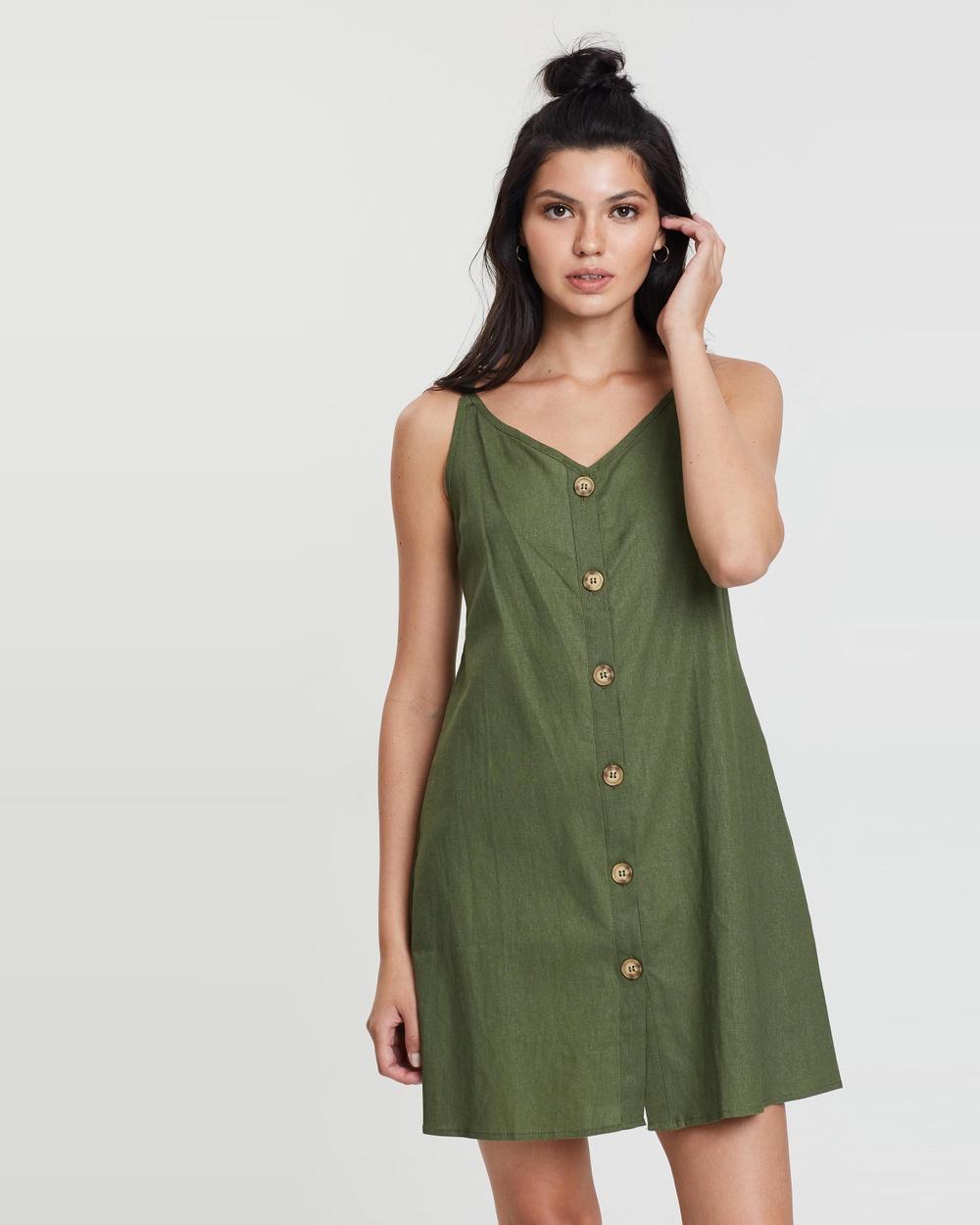 Cotton On Soft Khaki Woven Margot Slip Dress