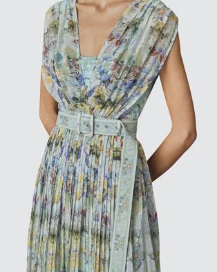 LEO & LIN Verde Silk Chiffon Pleated Dress - Printed Dresses (Green)