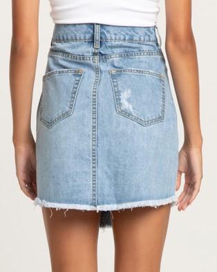 The Fated Rebel Distressed Denim Skirt - Denim skirts (Blue Wash)