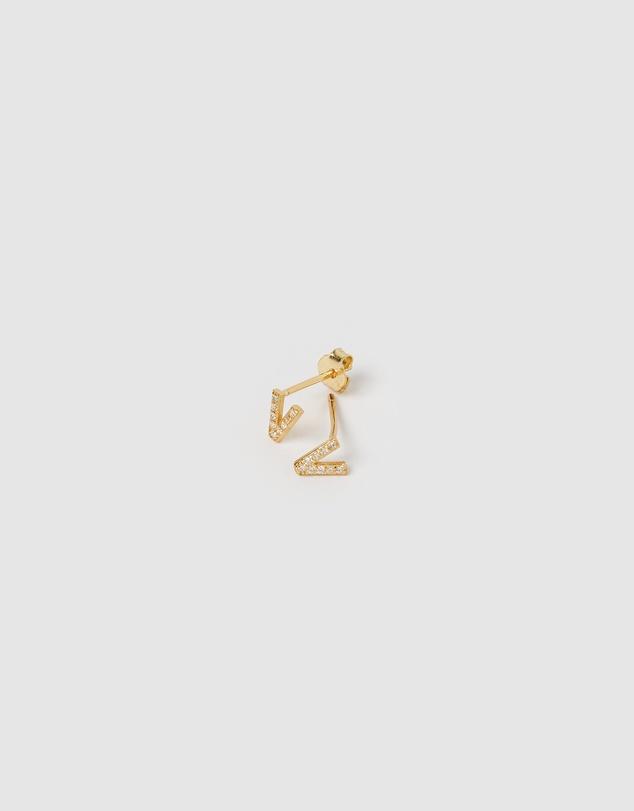 Women Alphabet Mini Letter V Stud Earrings Gold