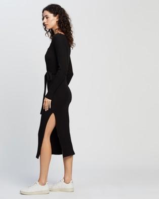 TOPSHOP Jersey Midi Ribbed Belted Bodycon Midi Dress - Bodycon Dresses (Black)