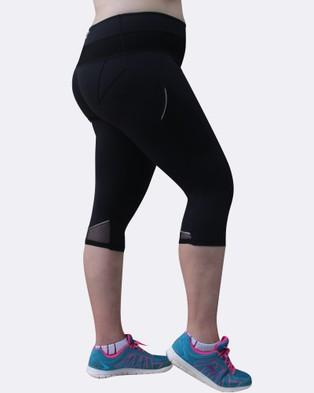 Curvy Chic Sports Mesh Sculpt Pocket Tights - 3/4 Tights (Black)