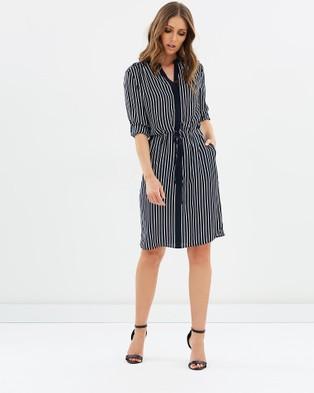 Sportscraft – Tania Stripe Silk Dress – Dresses (Navy & Ivory)