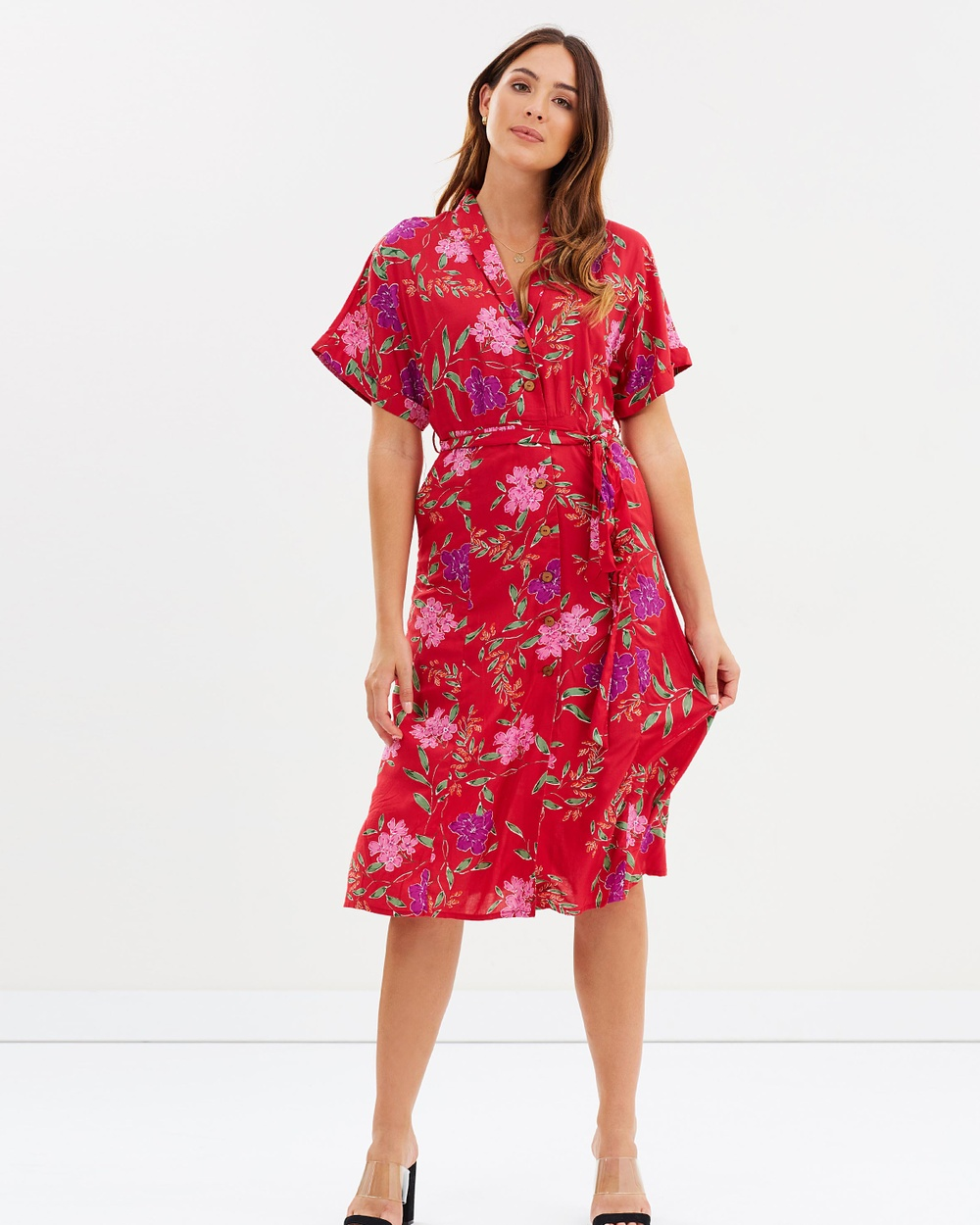 M.N.G Robe Dress Printed Dresses Rojo Robe Dress