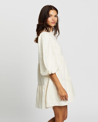 AERE - Balloon Sleeve Smock Dress Dresses (Sand)