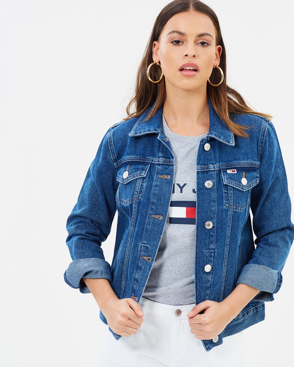 cb0a6018 Classic Denim Trucker Jacket by Tommy Jeans Online | THE ICONIC | Australia