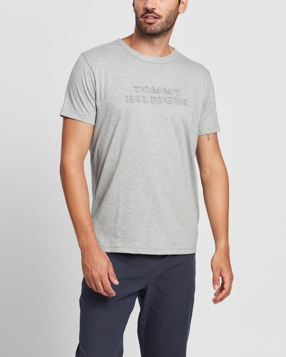 Tommy Hilfiger Embossed Logo Tee T-Shirts & Singlets Medium Grey Heather