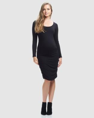 Soon Maternity – Celina Long Sleeve Maternity Dress – Bodycon Dresses Black