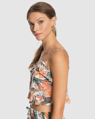 Roxy Womens Story Me Strappy Crop Top - Cropped tops (SNOW WHITE MAHE)