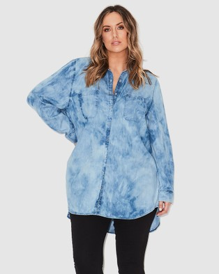 17 Sundays Marble Wash Denim Shirt - Tops (Blue)
