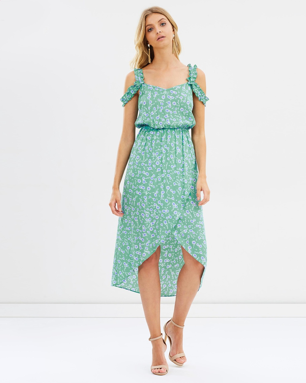 Atmos & Here ICONIC EXCLUSIVE Belle Wrap Dress Printed Dresses Green Floral ICONIC EXCLUSIVE Belle Wrap Dress