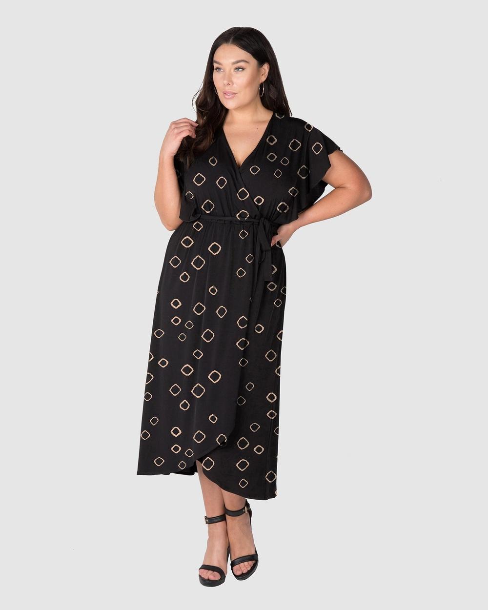 Love Your Wardrobe Shine Like A Diamond Print Knit Dress Printed Dresses Black/Gold Diamond