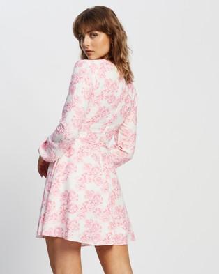 Glamorous Long Sleeve Floral Dress - Dresses (Pink Floral)