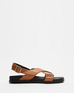 AERE Crossover Leather Footbed Sandals - Sandals (Tan Leather)