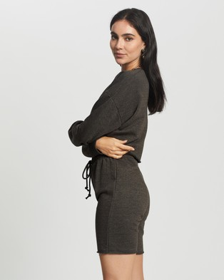 Missguided Crop Sweat & Cycling Short Set - Sweats (Dark Grey)