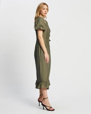 MINKPINK Wrap Midi Dress - Printed Dresses (Khaki Spot)