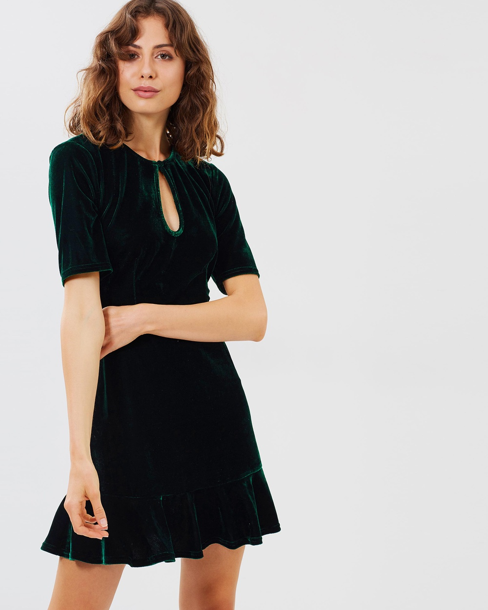 Atmos & Here ICONIC EXCLUSIVE Linda Velvet Dress Dresses Green Velvet ICONIC EXCLUSIVE Linda Velvet Dress