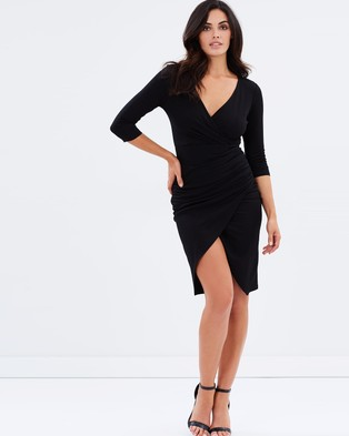 Atmos & Here – Reema Gathered Midi Dress – Bodycon Dresses (Black)