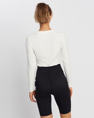 Aim'n Rib Knot Top - Long Sleeve T-Shirts (White)