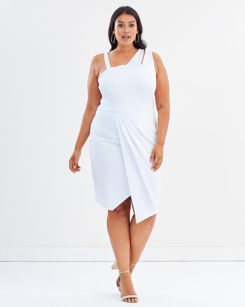 Rebel Wilson x Angels Asymmetrical Cut Out Dress Dresses White Asymmetrical Cut-Out Dress