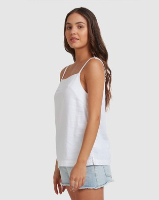 Roxy Womens Adrift Heart It Races Strappy Top - Cropped tops (Bright White)