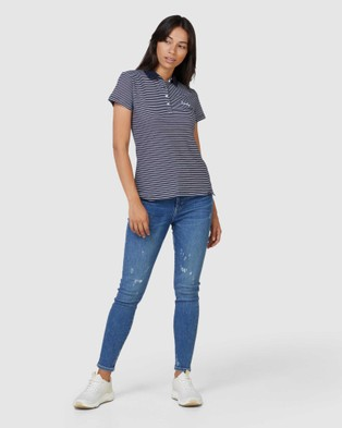 Superdry Scripted Polo Tee - Shirts & Polos (Navy Stripe)