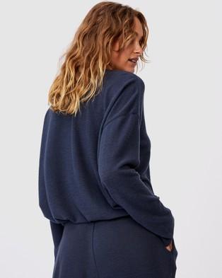 Cotton On Body Super Soft Draw Cord Crew Sleepwear Magnet Blue