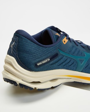 Mizuno Wave Rider 24   Men's - Training (Indigo, Hydro & Orange)