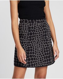 See By Chloé - Quilted Croco Skirt