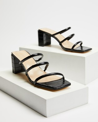 Atmos&Here Mia Leather Heels - Sandals (Black Croc Embossed Leather)