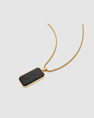Australia Nialaya Jewellery Men's Forged Carbon Fiber Dog Tag with Chevron Detail - Jewellery (Gold)