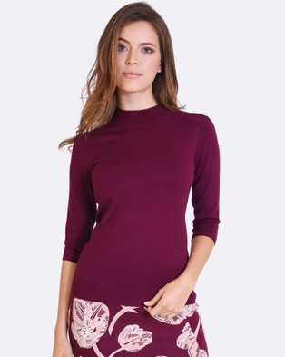 Forcast – Lili Mock Neck Knitted Sweater Burgundy
