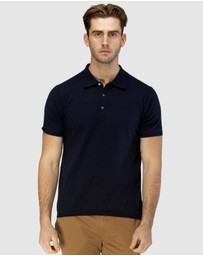 Brooksfield - Short Sleeve Knit Polo with Collar