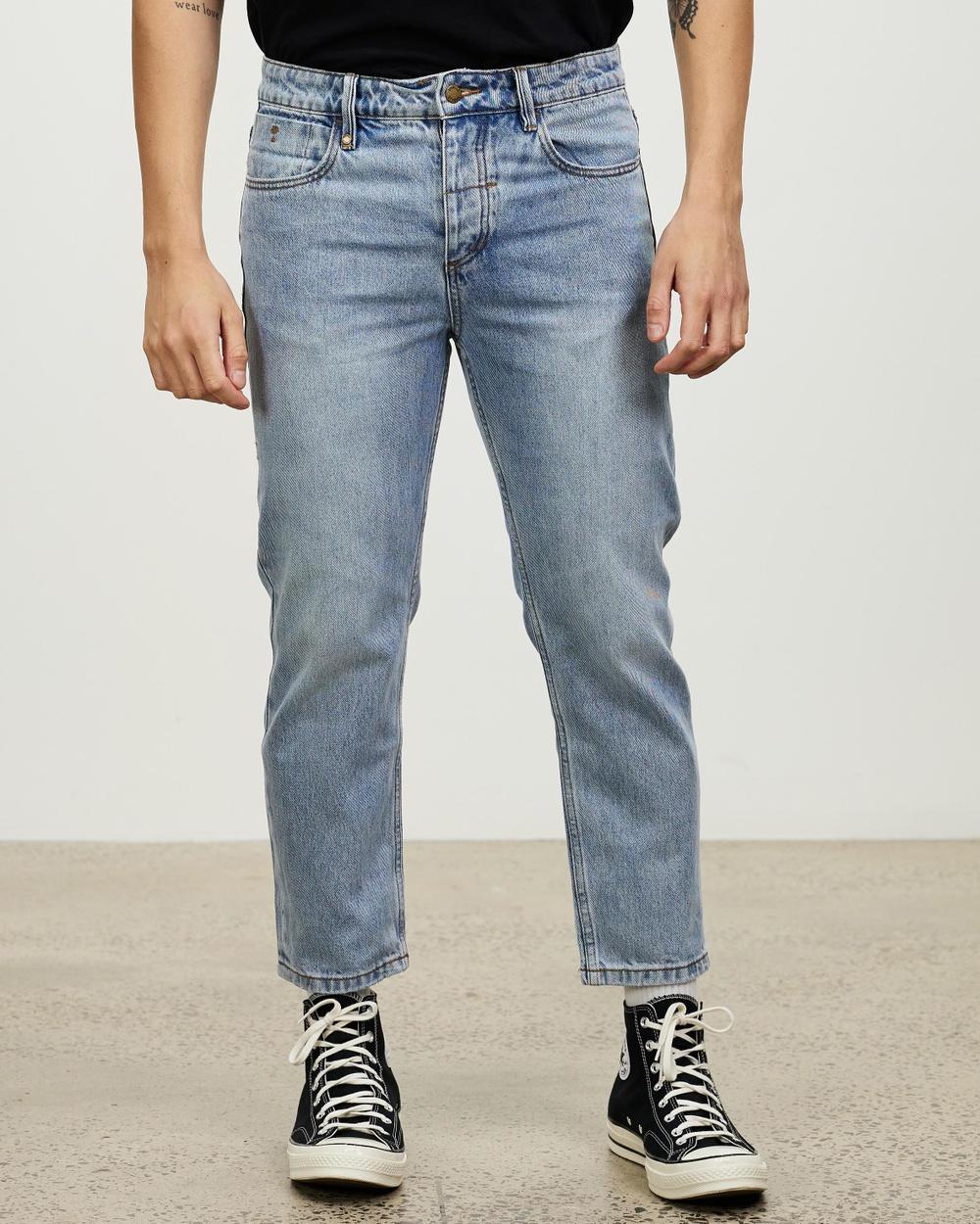 Thrills Chopped Denim Jeans Crop Aged Blue Australia