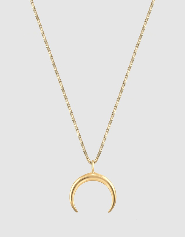 Necklace Crescent Moon Luna Astro 925 Silver Gold Plated by Elli Jewelry